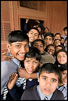 Group of schoolboys in front of Rumi Sultana. Fatehpur Sikri, Uttar Pradesh, India ( color)