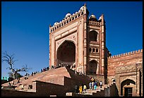 54m-high gate built to commemorate Akbar's victory in Gujarat, Dargah mosque. Fatehpur Sikri, Uttar Pradesh, India