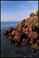 Boulders and christian statues overlooking ocean, Dona Paula. Goa, India ( color)