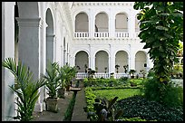 Garden in courtyard of Basilica of Bom Jesus, Old Goa. Goa, India ( color)