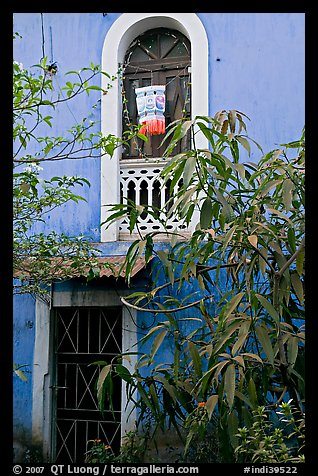 Yard and blue facade, Panaji. Goa, India