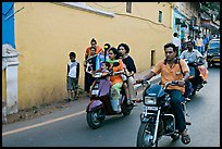 Street with motorbikes, Panjim. Goa, India