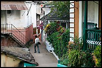 Man in alley with gardens, Panjim. Goa, India (color)
