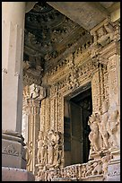 Entrance porch (ardhamandapa), Parsvanatha temple, Eastern Group. Khajuraho, Madhya Pradesh, India (color)
