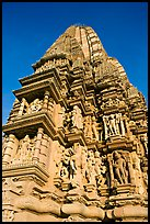 Bands of sculptures and sikhara, Javari Temple, Eastern Group. Khajuraho, Madhya Pradesh, India (color)