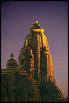 Illuminated temple at night, Western Group. Khajuraho, Madhya Pradesh, India (color)
