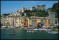 Castle, village, and harbor, Porto Venere. Liguria, Italy