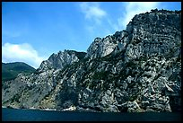 Steep limestone cliffs dropping into the Mediterranean. Cinque Terre, Liguria, Italy (color)