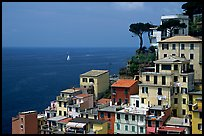 Houses built on the sides of steep hills overlook the Mediterranean, Riomaggiore. Cinque Terre, Liguria, Italy