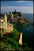 Fishing port, church, old castle and village, Vernazza. Cinque Terre, Liguria, Italy (color)