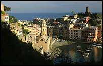Harbor and Castello Doria (11th century), late afternoon, Vernazza. Cinque Terre, Liguria, Italy (color)