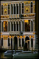 Beautiful colored marbles on facade of Palazzo Dorio (1487), the Grand Canal. Venice, Veneto, Italy