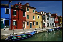 Canal bordered by colorfully painted houses, Burano. Venice, Veneto, Italy