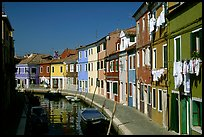 Canal lined with multihued houses, Burano. Venice, Veneto, Italy