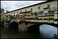 Ponte Vecchio (1345),  old bridge lined with shops. Florence, Tuscany, Italy ( color)