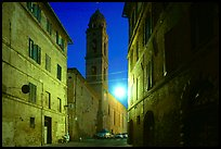 Street and church at dawn. Siena, Tuscany, Italy