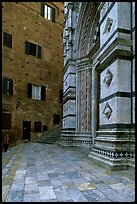Small square besides the Duomo. Siena, Tuscany, Italy ( color)