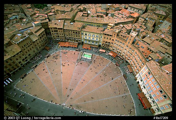 The square paving divided into nine sectors, representing members of the Coucil of Nine.. Siena, Tuscany, Italy (color)