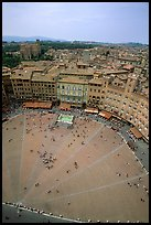 Piazza Del Campo seen from Torre del Mangia. Siena, Tuscany, Italy ( color)