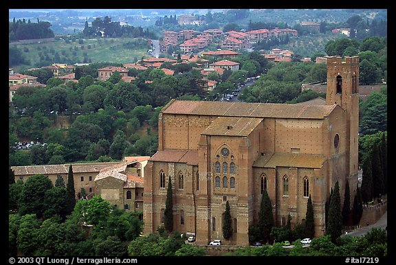 Church of San Domenico seen from Torre del Mangia. Siena, Tuscany, Italy