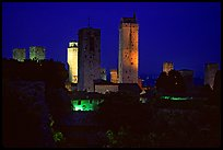 Medieval towers seen from the Rocca at night. San Gimignano, Tuscany, Italy ( color)