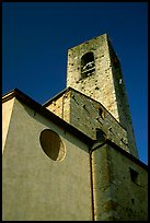 Massive shapes of the Duomo. San Gimignano, Tuscany, Italy ( color)