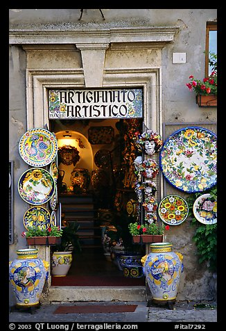 Doorway of the ceramic store. Orvieto, Umbria (color)