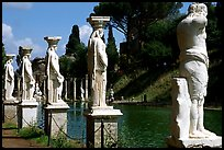 Antique statues along the Canopus, Villa Hadriana. Tivoli, Lazio, Italy (color)