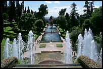 Fountains and pools in  Villa d'Este. Tivoli, Lazio, Italy (color)