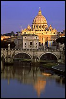 Bridge and Basilic Saint Peter reflected in Tiber River, sunrise. Vatican City (color)