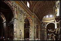 Cavernous interior of Basilic San Peter. Vatican City ( color)
