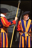 Papal Swiss guards in colorful traditional uniform. Vatican City ( color)