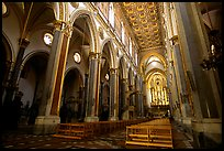 Church interior looking down the nave to the apse. Naples, Campania, Italy ( color)