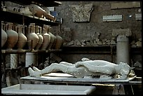Artifacts found during the excavations, including a petrified man. Pompeii, Campania, Italy ( color)