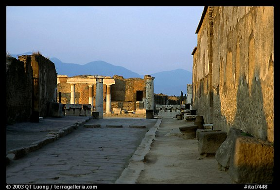 Via Marina at sunset. Pompeii, Campania, Italy
