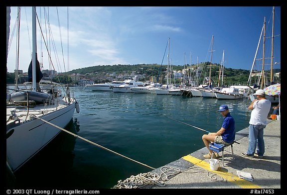 Fishing in the yacht harbor, Agropoli. Campania, Italy (color)