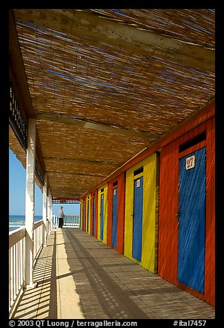 Row of changing cabins, Paestum. Campania, Italy (color)