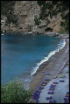 Spiaggia del Fornillo Beach seen from Via Positanesi d'America, Positano. Amalfi Coast, Campania, Italy (color)