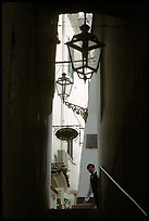 Narrow stairway with formally dressed man and hotel sign,  Amalfi. Amalfi Coast, Campania, Italy ( color)