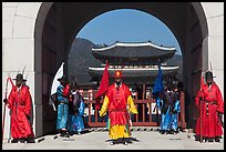 Gate guards and palace, Gyeongbokgung. Seoul, South Korea
