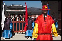 Guards in Joseon-period costumes, Gyeongbokgung. Seoul, South Korea