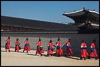 Military band marching, Gyeongbokgung palace. Seoul, South Korea