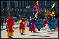 Changing of the Guard ceremony in front of Gyeongbokgung palace. Seoul, South Korea