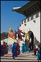 Guard change ceremony in front of Gyeongbokgung palace gate. Seoul, South Korea