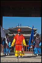 Joseon guards and Gyeongbokgung palace. Seoul, South Korea