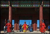 Guards at Heugnyemun gate, Gyeongbokgung. Seoul, South Korea