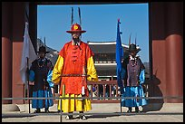 Royal guards, Heugnyemun gate, Gyeongbokgung. Seoul, South Korea
