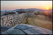 Sunset from Hwaseong Fortress walls. South Korea ( color)