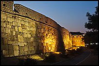 Outside Suwon Hwaseong Fortress wall at dusk. South Korea ( color)