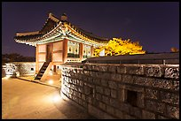 Seoporu (western sentry post) at night, Suwon Hwaseong Fortress. South Korea ( color)